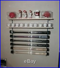 11 Bat Baseball Bat Display Rack with 2 Wood Display Shelf / bobblehead shelf