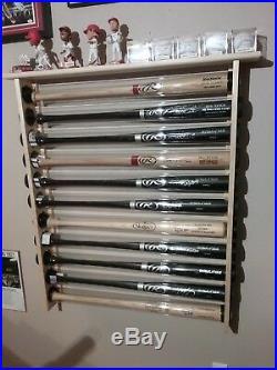 11 Bat Wood Baseball Bat Display Rack with Top Shelf, Bobbleheads