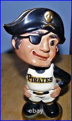 1960's Bobble Head Nodder Pittsburgh Pirates Gold Round Base Baseball