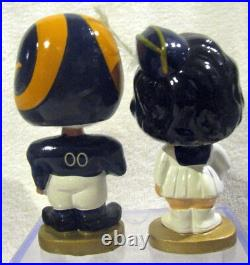 1960's Los Angeles Rams Kissing Pair Bobble Head Dolls in NM Condition