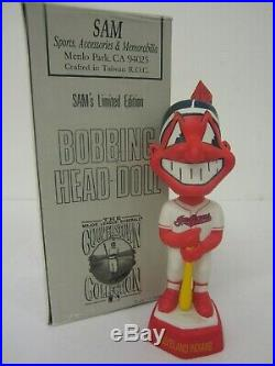 1998 Chief Wahoo Cleveland Indians Mascot SAM's Bobblehead Doll withBox #2525