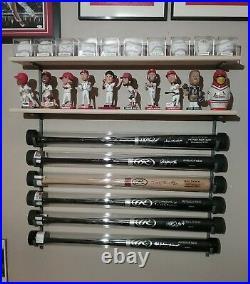 3Bat Baseball Bat Display Rack with 2 Wood Display Shelf / bobblehead shelf