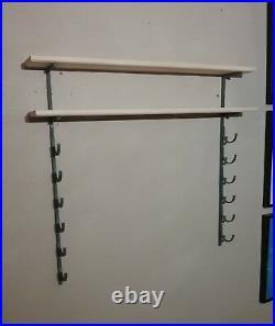5 Bat Baseball Bat Display Rack with 2 Wood Display Shelf / bobblehead shelf