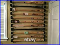 5 Bat Wood Baseball Bat Display Rack with Top Shelf, Bobbleheads
