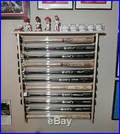 9 Bat Wood Baseball Bat Display Rack with Top Shelf, Bobbleheads