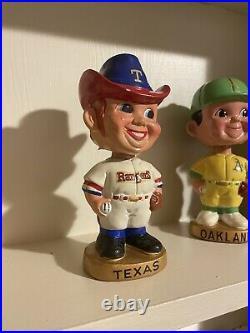 Baseball bobblehead 1960s vintage old Texas Rangers Character Gold base Nodder