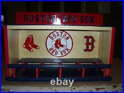 Boston Red Sox Bobble Head Display Case Handcrafted Pinewood Logos Socks & B