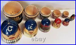 CLEVELAND INDIANS Vintage Russian Nesting Doll Set THROWBACK UNIFORMS Wood MINT