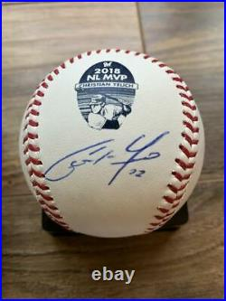 Christian Yelich Bobblehead & Autographed Signed Rawlings NL MVP Baseball with COA
