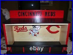 Cincinnati Reds Bobble Head Display Case Pinewood with Batter, C, & Red logo