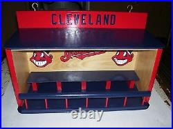 Cleveland Indians Bobble heads display case with Chief Wahoo