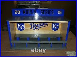 KC Royals Bobble heads display case with siding doors 2015 World Series