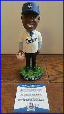 Magic Johnson Signed Los Angeles Dodgers Baseball Bobblehead Lakers Beckett