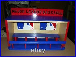 Major League Baseball Bobble heads display case Dugout Handcrafted Pinewood