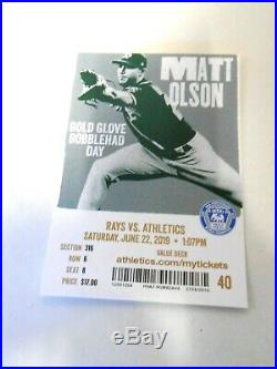 Matt Olson Baseball Bobblehead Oakland A's 2019 Signed Autographed & TICKET