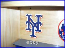 New York Met Bobble heads Display Case Dugout Smaller 18 x 10 1/2 Pinewood