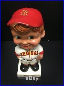 Original 1960s Boston Red Sox Bobble Head Baseball Nodder White Base with Box
