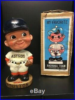 Original 1960s Houston Astros Bobble Head Nodder Astrodome Decal Gold with Box