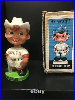 Original 1960s Houston Colt. 45s White Hat Bobble Head Nodder Green Base