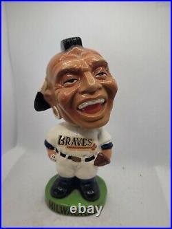 Original and vintage 1963-65 Milwaukee Braves green base Bobblehead nodder doll