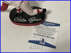 Pete Rose Signed Cincinatti Reds Hall Of Fame Baseball Bobblehead Hit King BAS