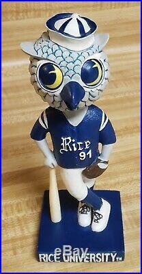 RARE Rice Owls Sammy Mascot Bobblehead Baseball NCAA University College SGA