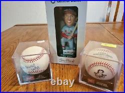 Stan Musial Lot Signed Baseball/bobblehead/tribute Baseball Stm Certified