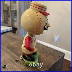 Vintage 1960s Green Base Cincinnati Reds Baseball Head Bobblehead RARE LOOK