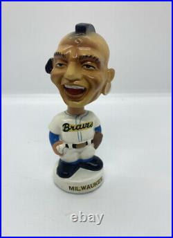 Vintage 1960s Milwaukee Braves mini Mascot Bobbing Nodder Baseball Bobblehead