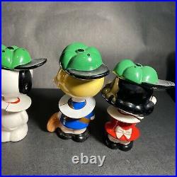 Vintage Peanuts Jump-for-joy Set of 6 Famous Baseball Team Bobblehead w OP / BG