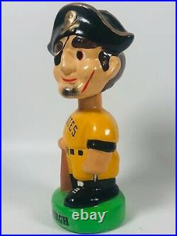 Vtg 1970-80s Ceramic Pittsburgh Pirates Bobblehead Nodder Green Base Baseball